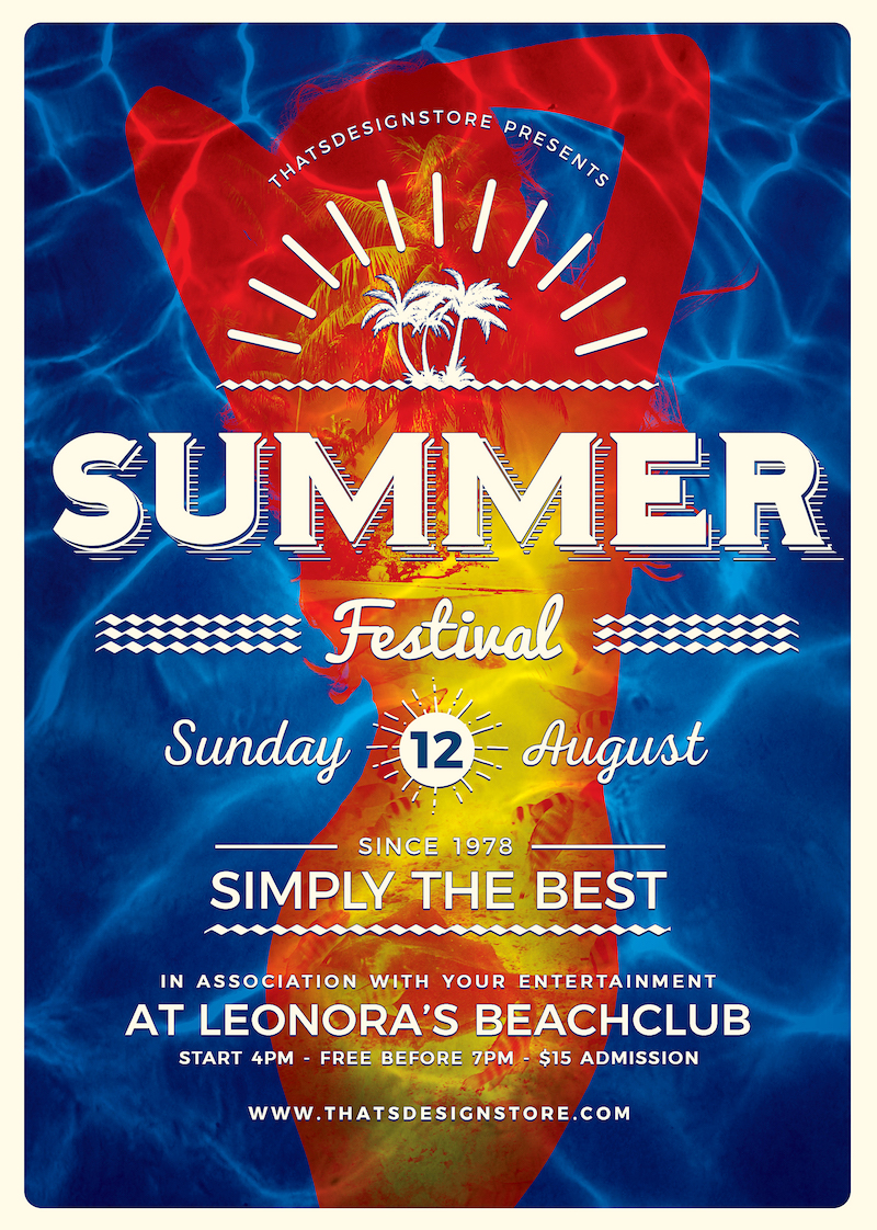 Summer flyers psd for beach party,festival, club cocktails bar event. Pool garden party, Dj set mixing chillout, lounge music for tropical sunset, summer camp holidays