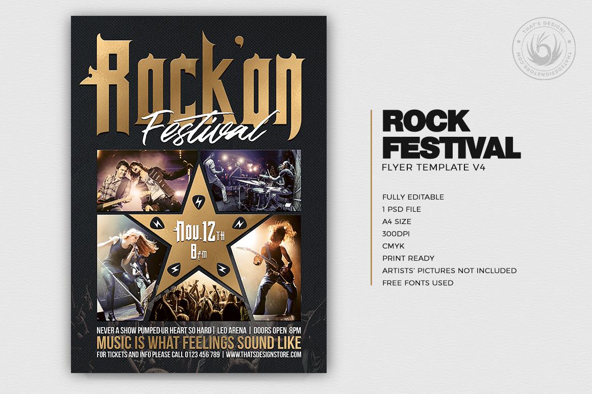 Rock Festival Flyer Template psd download V4v