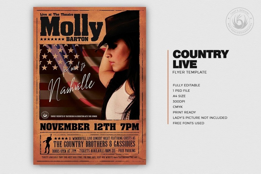 Country Live Flyer Template PSD, Wanted flyers farwest Western template, rodeo bike cowboy in a coyote bar