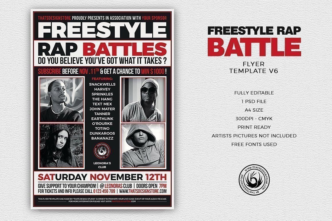 freestyle rap battle flyer template for photoshop