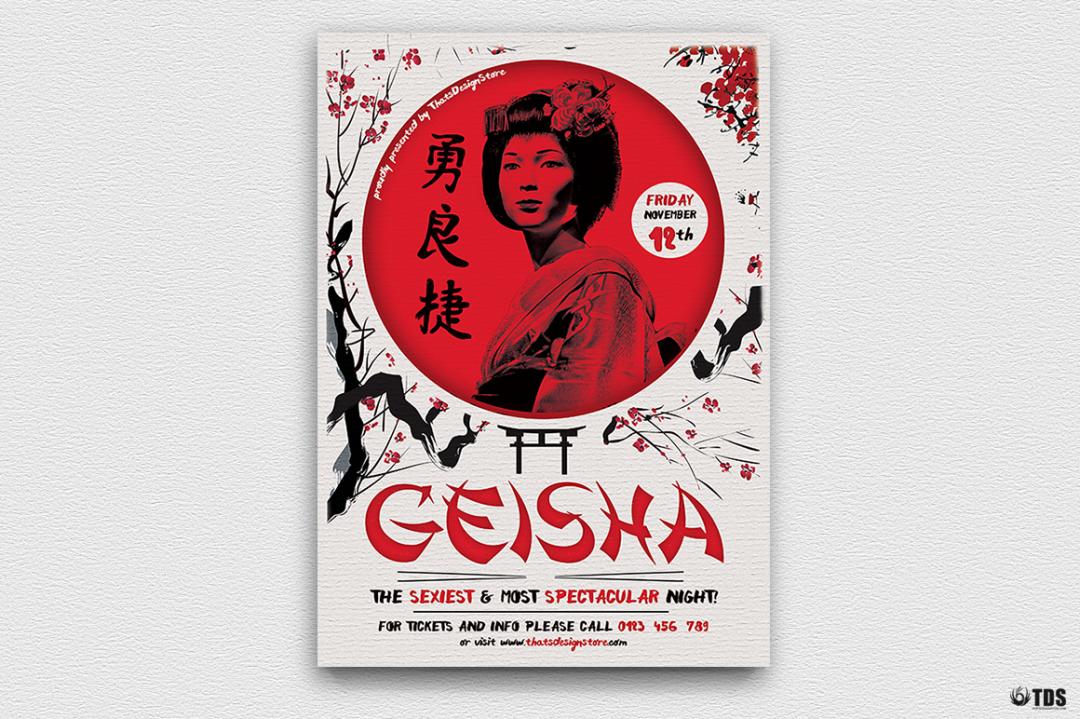 Geisha Party Flyer Template V4, japan asian psd flyers