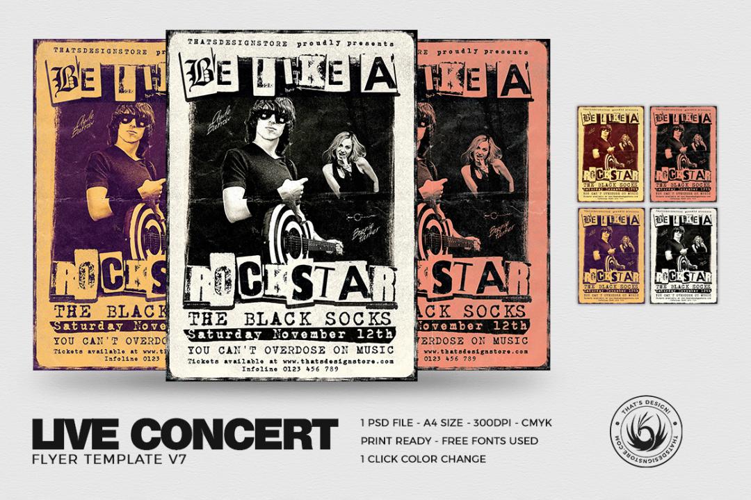 Live Concert Flyer Template PSD download V7