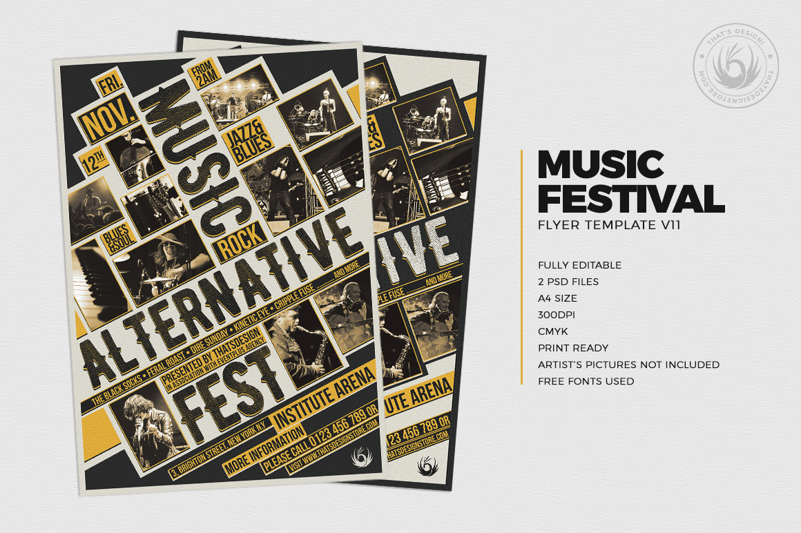 music festival flyer template v11 thats design store