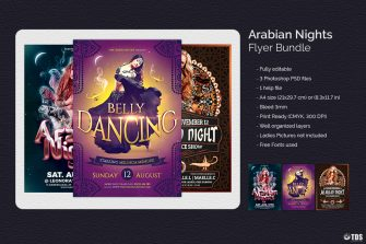 Oriental Night Flyers Templates or Arabian PSD flyer template
