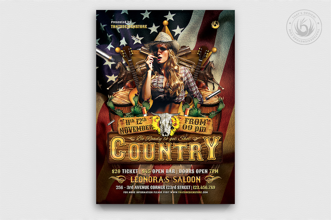 Country Live flyer template / Western flyer template