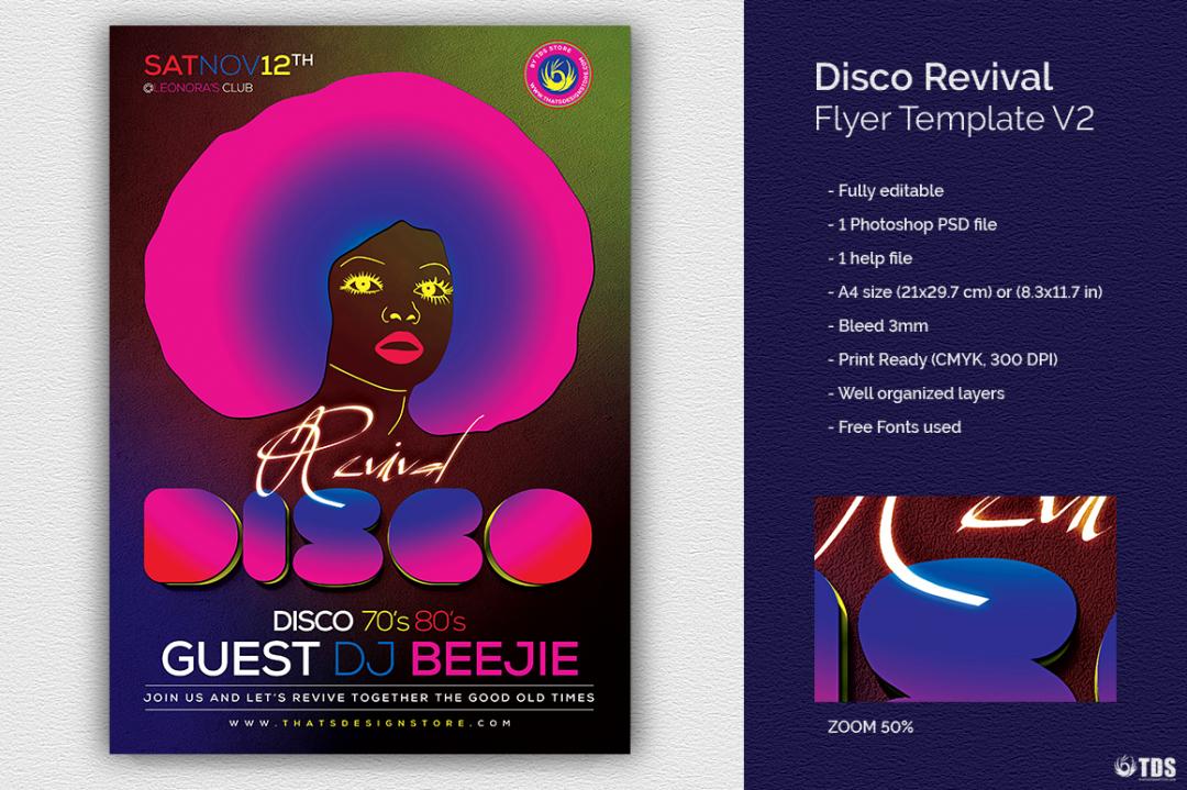 Disco Revival Flyer Template PSD download V2