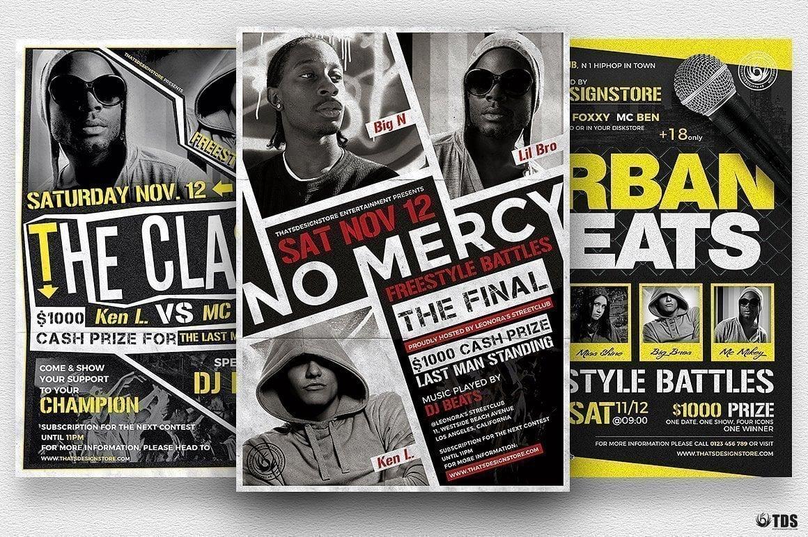 freestyle rap battle flyer bundle