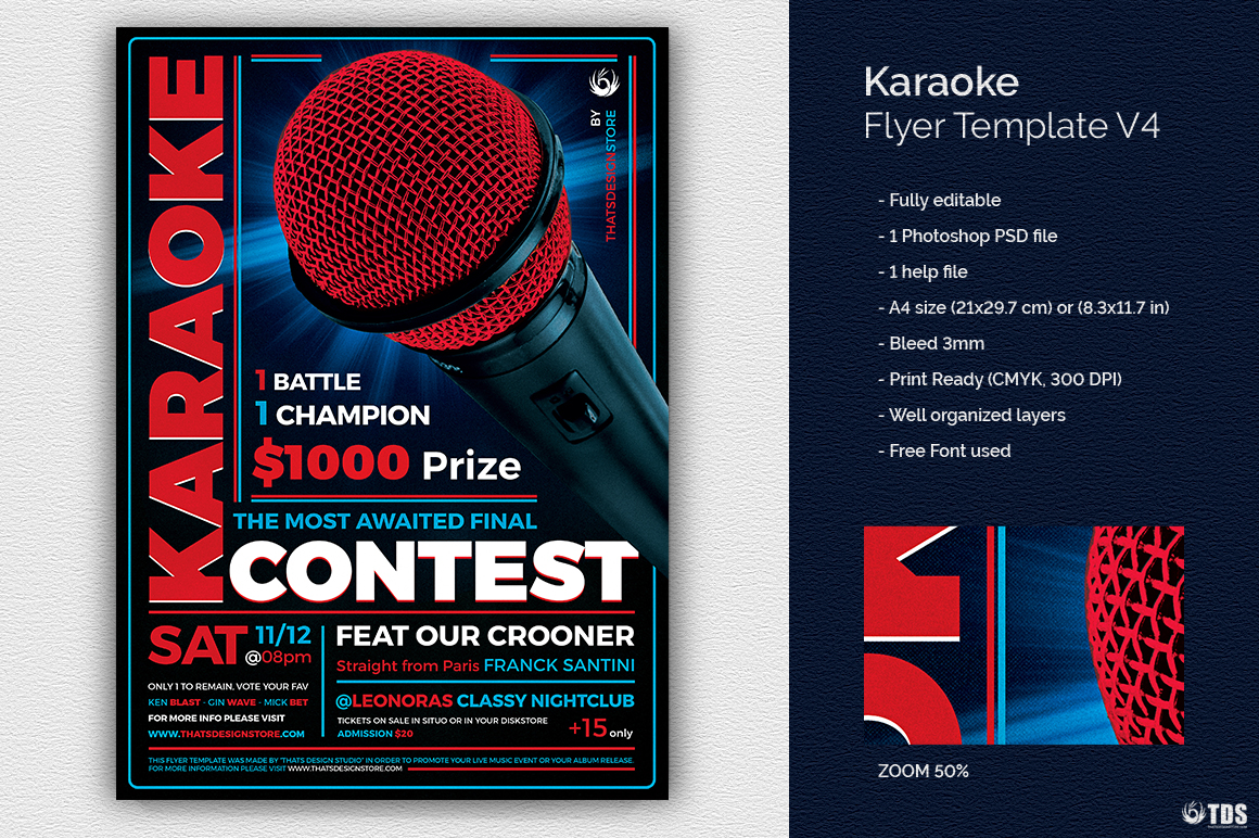 Karaoke Flyer Template psd download V4