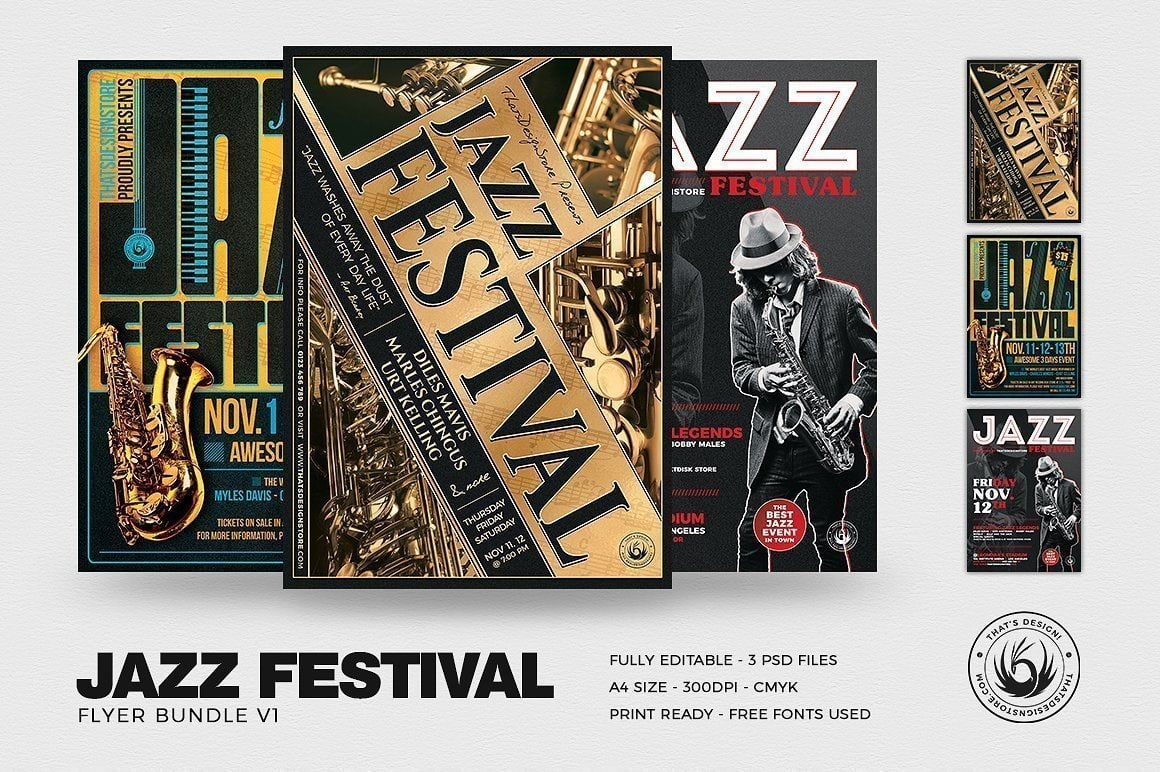 Jazz Festival Flyer Bundle
