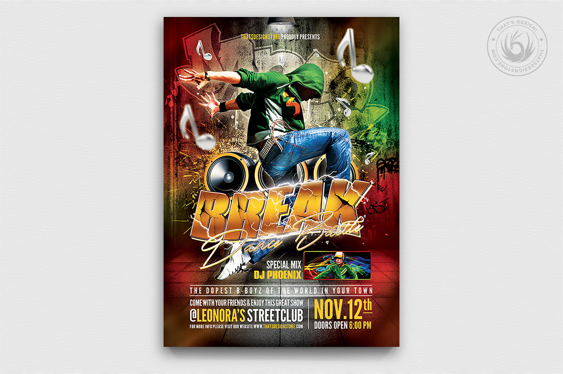 Break Dance Battle Flyer Template PSD download V2