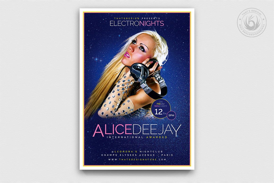 Dj Guest Flyer Template V8 | Free posters design for photoshop