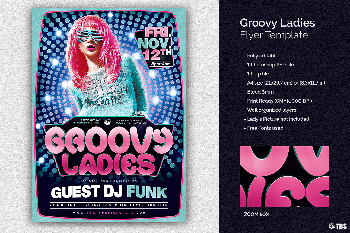 Groovy Ladies Disco Flyer Template