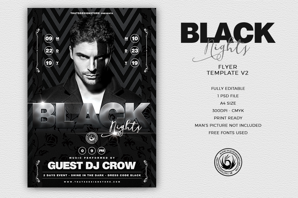 Black Night Flyer Template V Thats Design Store - Black and white flyer template free