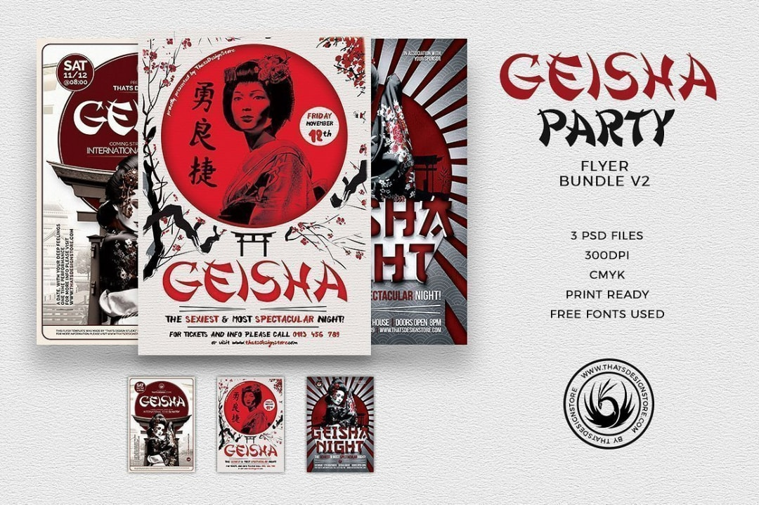 Geisha Party Flyer Bundle V2