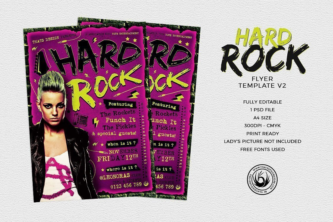 Hard Rock Flyer Template V2 | Thats Design! Store