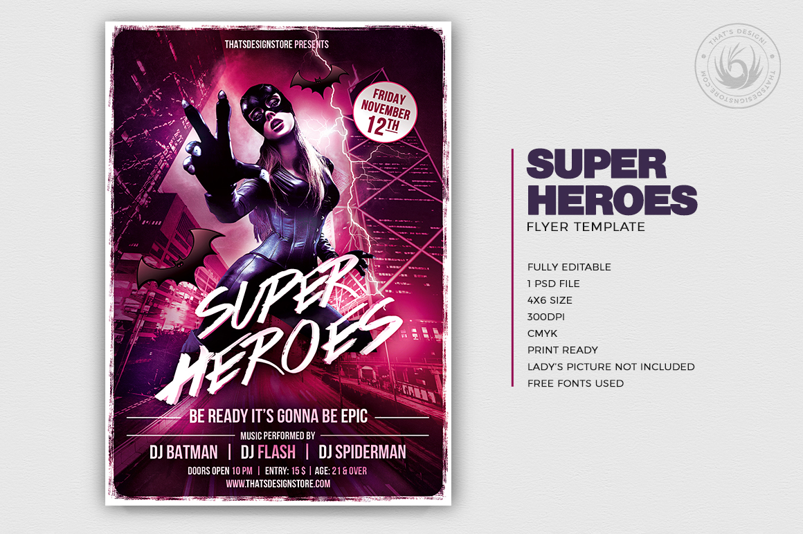 superhero flyer template free