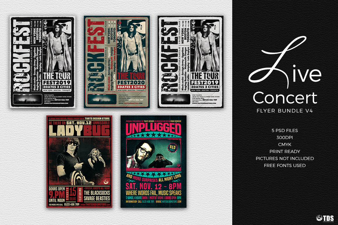 Live Band Flyer Psd Templates to download Bundle V.4