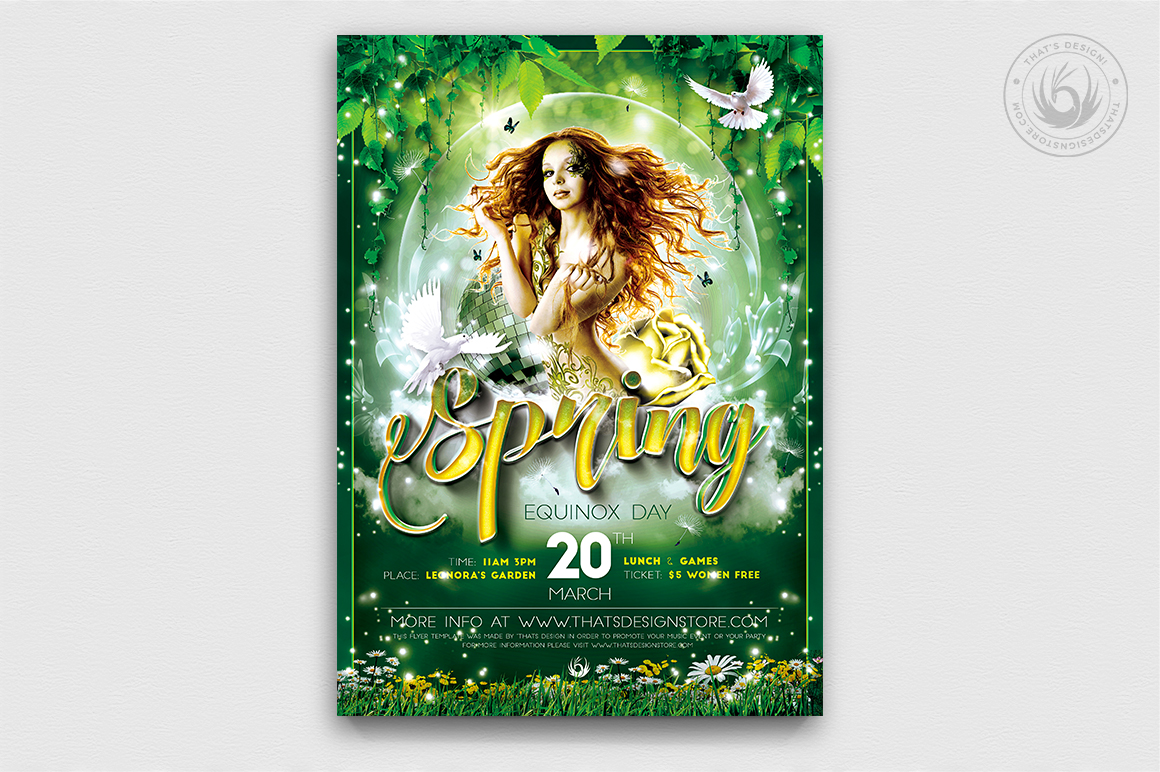 Spring Party Flyer Psd Templates, Spring Equinox Flyer Template V2