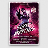Superheroes Night Flyer Template PSD Download