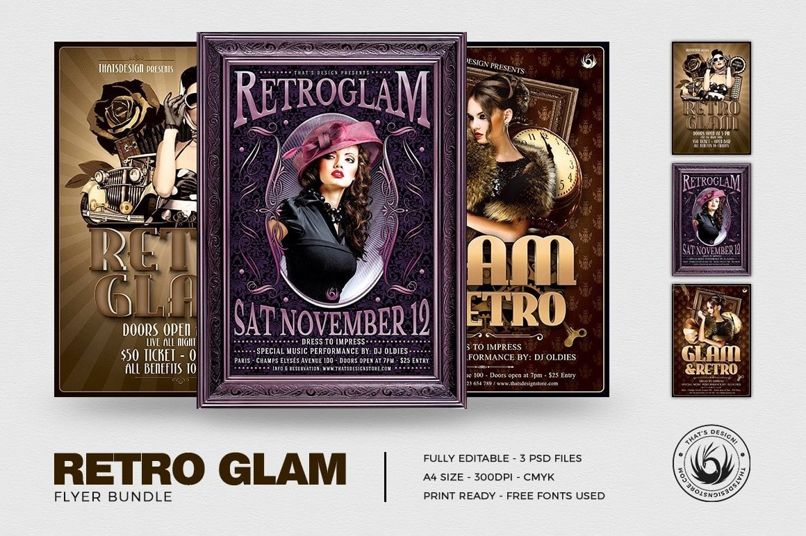 Retro Flyers Templates Bundle for photoshop to download