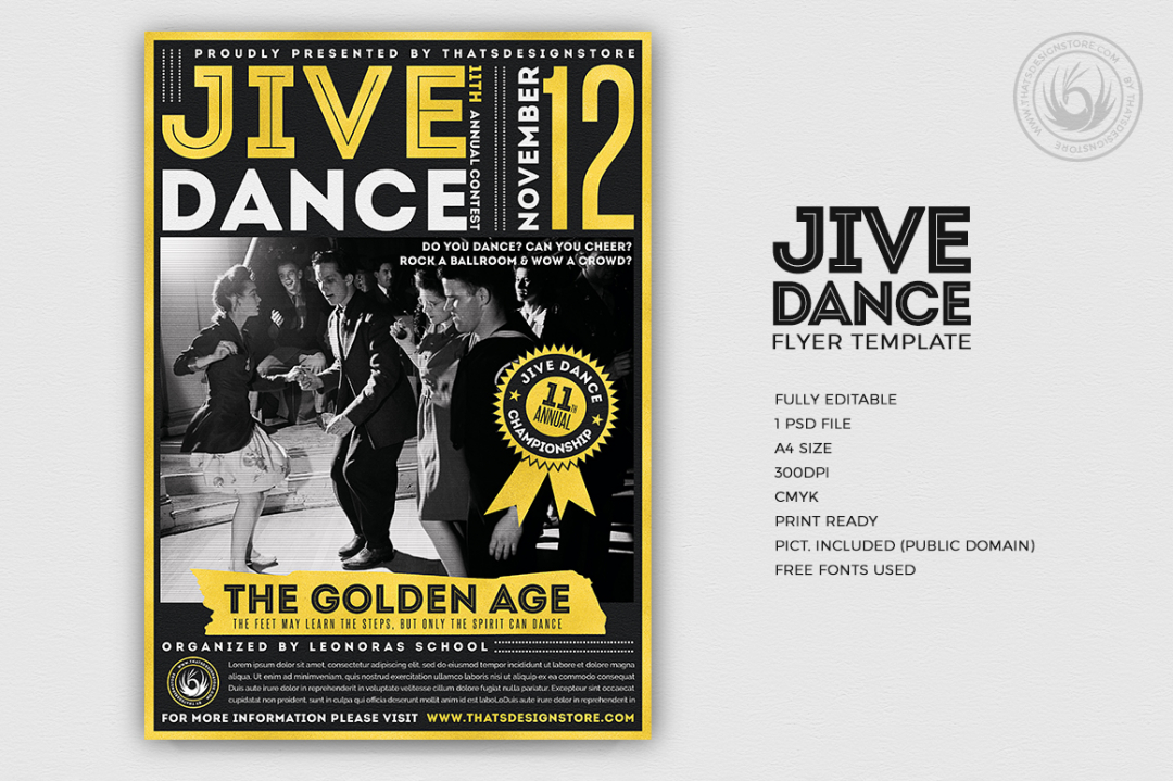 Jive Dance Flyer Template, Rock dance psd