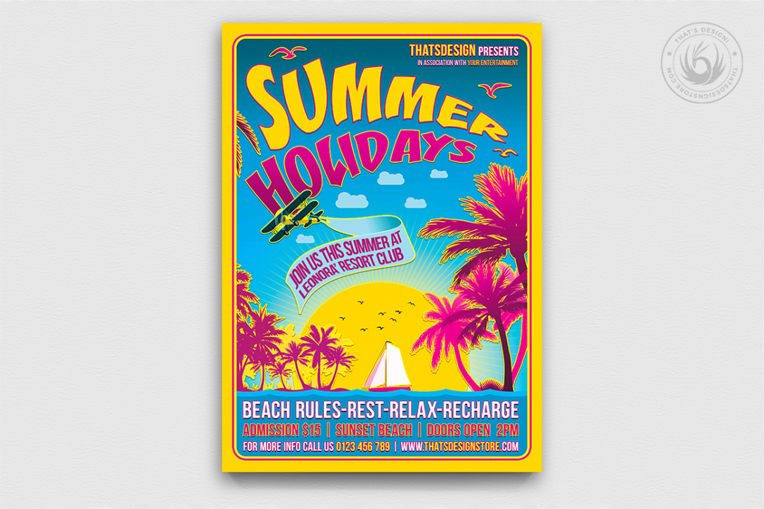 Summer Holidays Flyer Template V2 for any beach party,festival, club or cocktails bar event. Pool or garden party with Dj set mixing chillout, lounge music for a tropical sunset, summer camp holidays