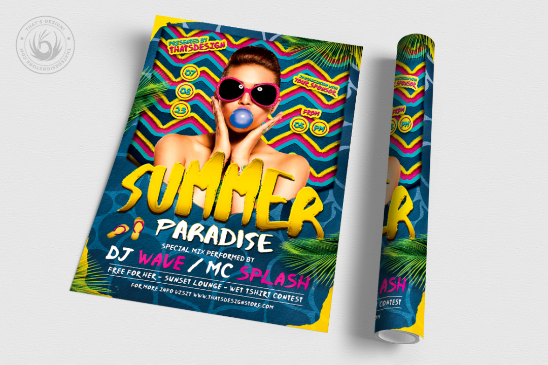 Paradise Summer Flyer Psd Template for any beach party,festival, club or cocktails bar event. Pool or garden party with Dj set mixing chillout, lounge music for a tropical sunset, summer camp holidays