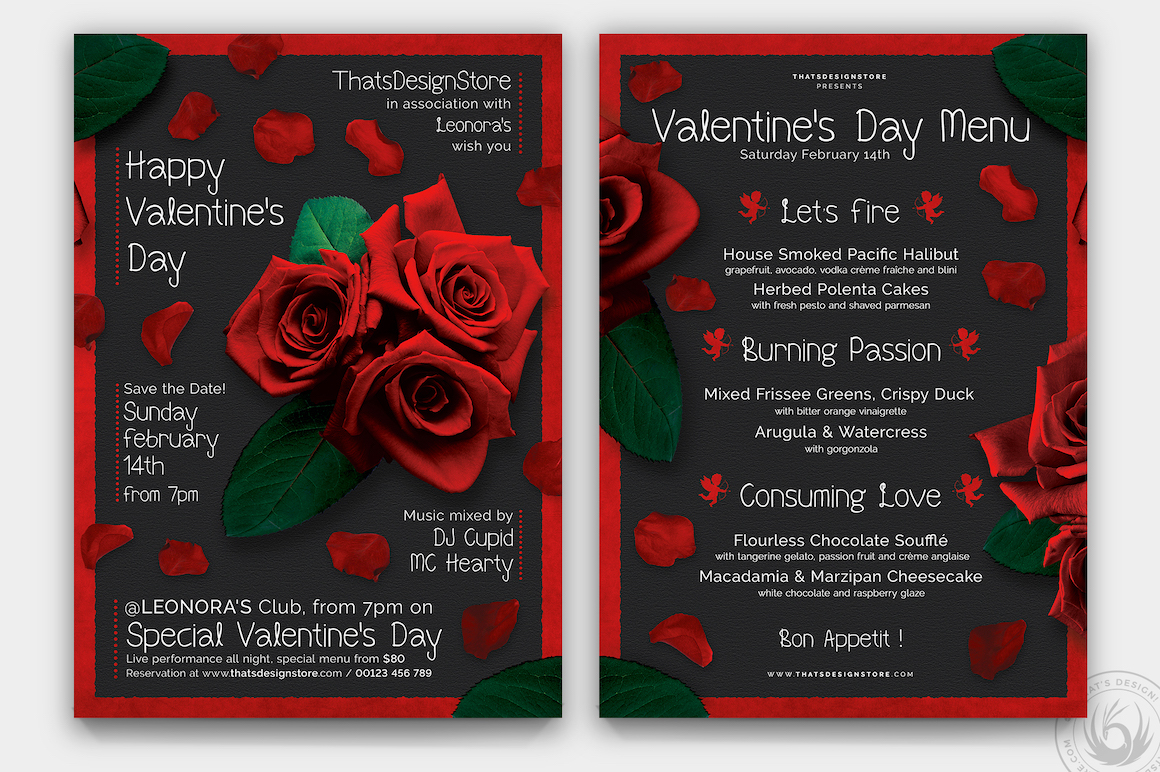 valentines day flyer and menu template psd design for