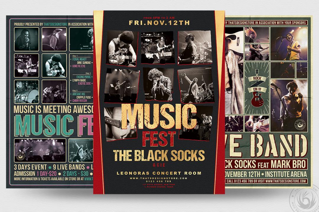 Concert Flyer Psd Templates BundleV6 to promote an Indie Rock Band, Dubstep, Pop Rock, Urban music band event, Gig, Alternative Music, Jazz Festival, Unplugged concert