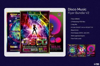 Disco Music Flyer Bundle psd download V2