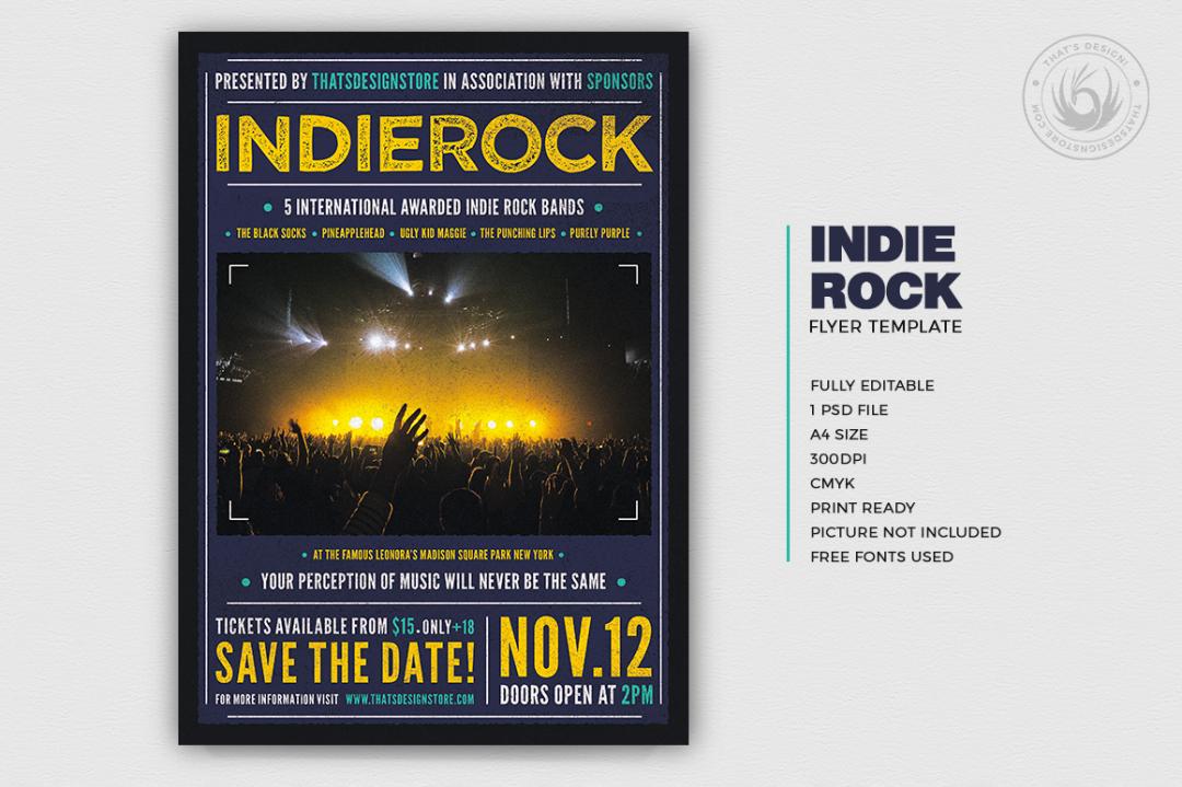 Indie Rock Flyer Template Psd download