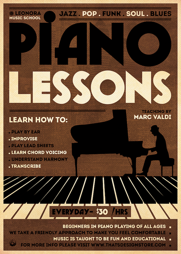 Piano Lessons Flyer Template Psd download