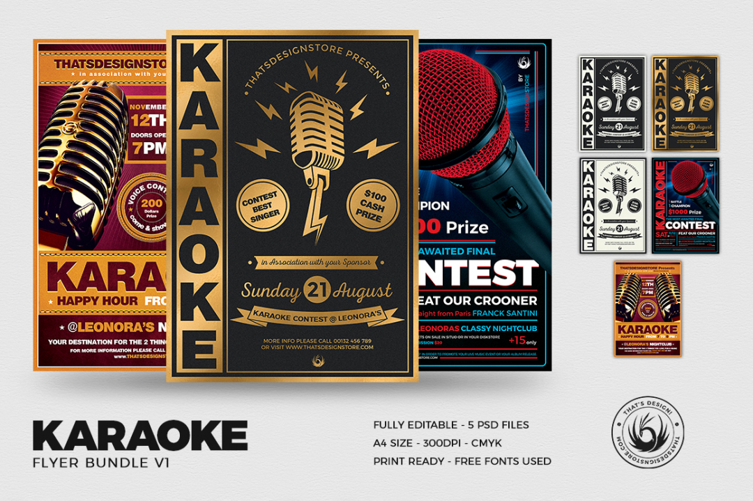 Karaoke flyer templates psd to download