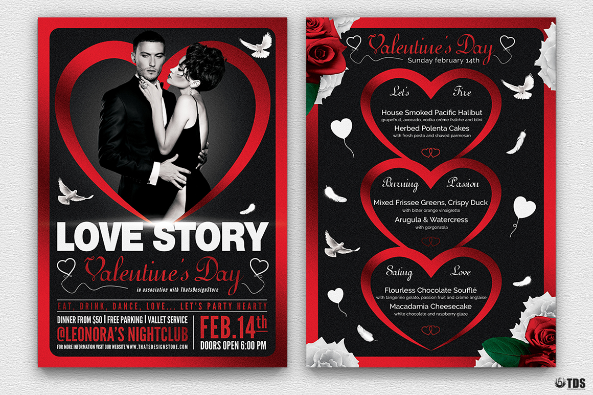 Valentine's Day Flyer + Menu Bundle V4 love Psd download to customize with photoshop