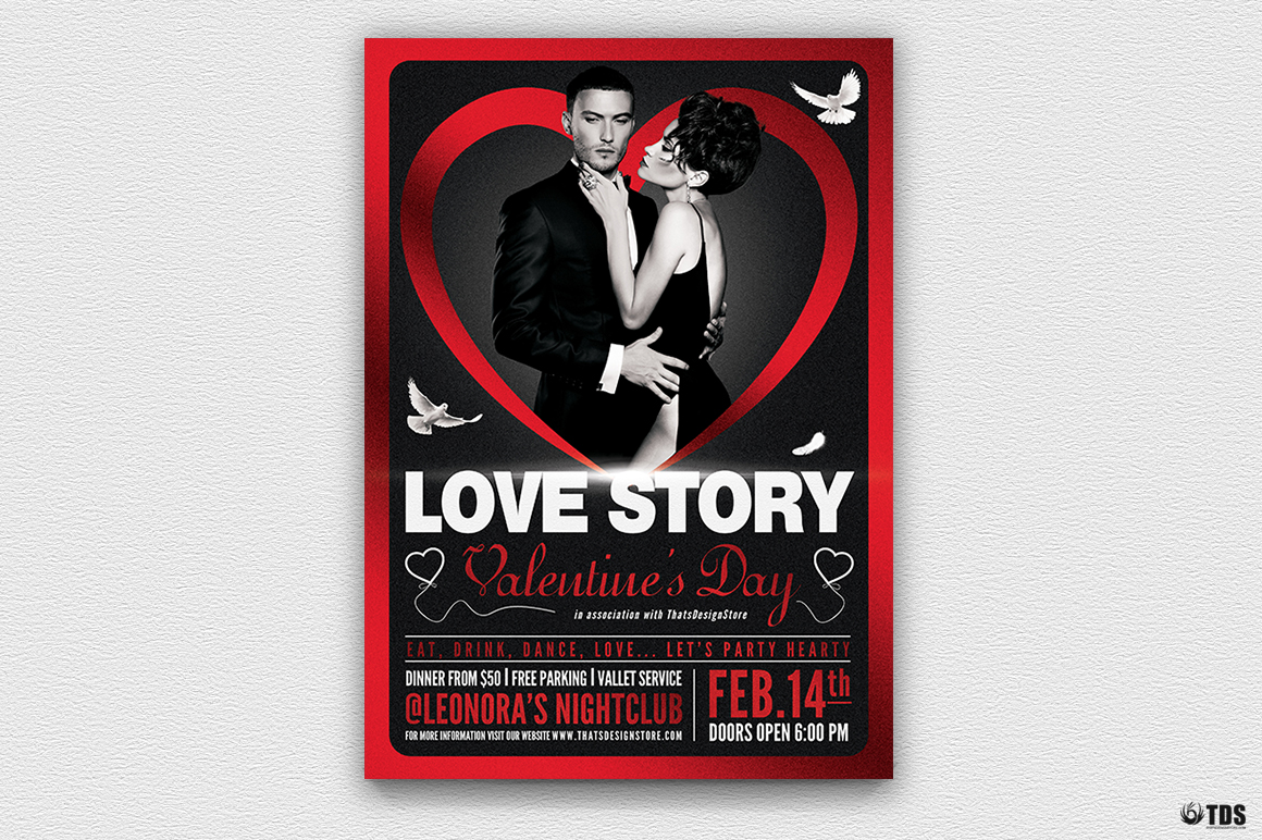 Valentine's Day Flyer Template V2 love Psd download to customize with photoshop