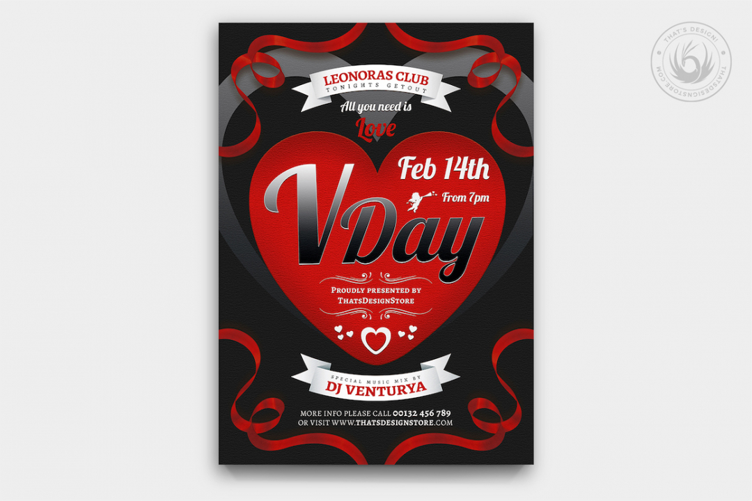 Valentine's Day Flyer Template V8 love Psd download to customize with photoshop