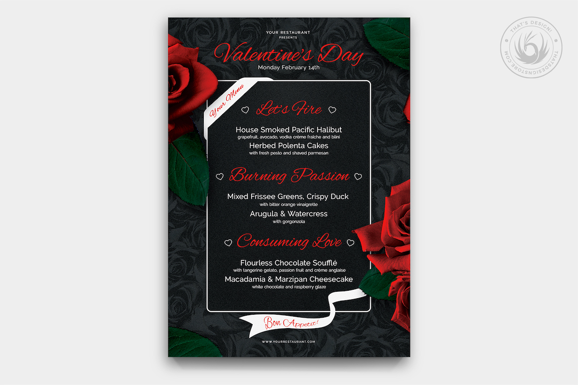 Valentines Day Menu Template V3 Thats Design Store