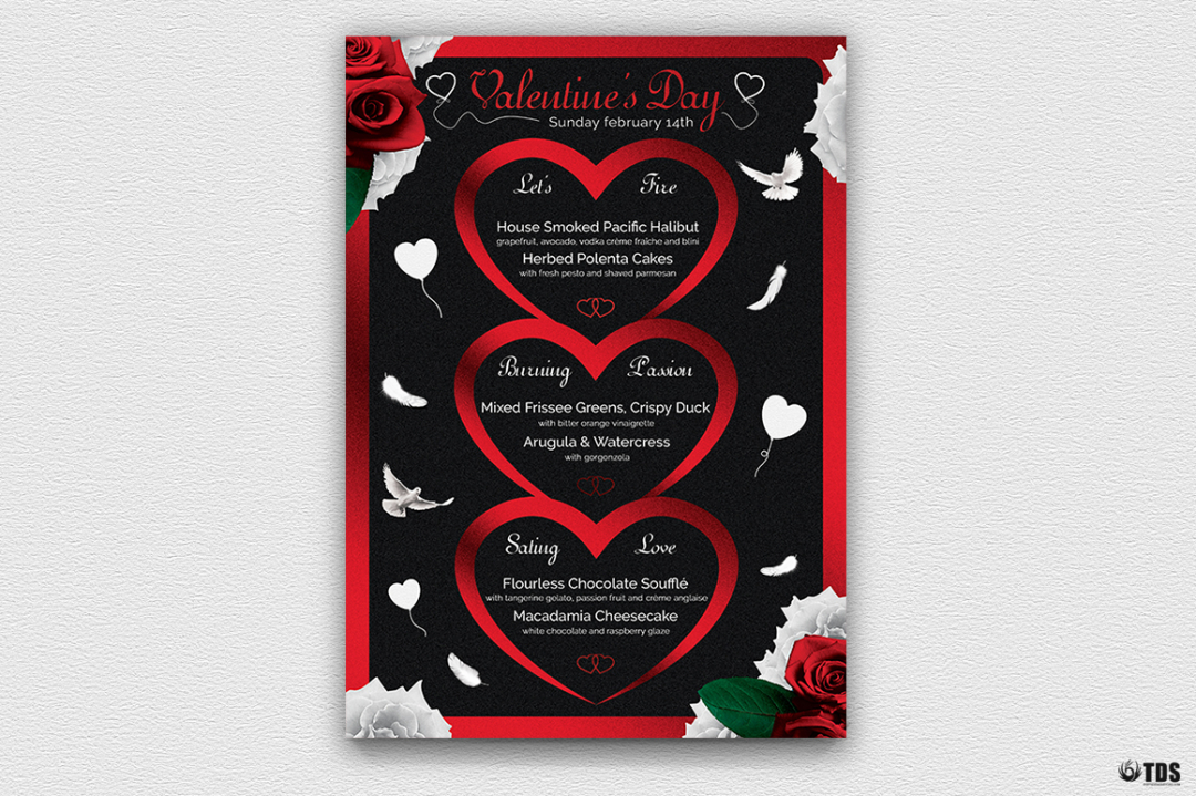 Valentine's Day Menu Template V4 love Psd download to customize with photoshop