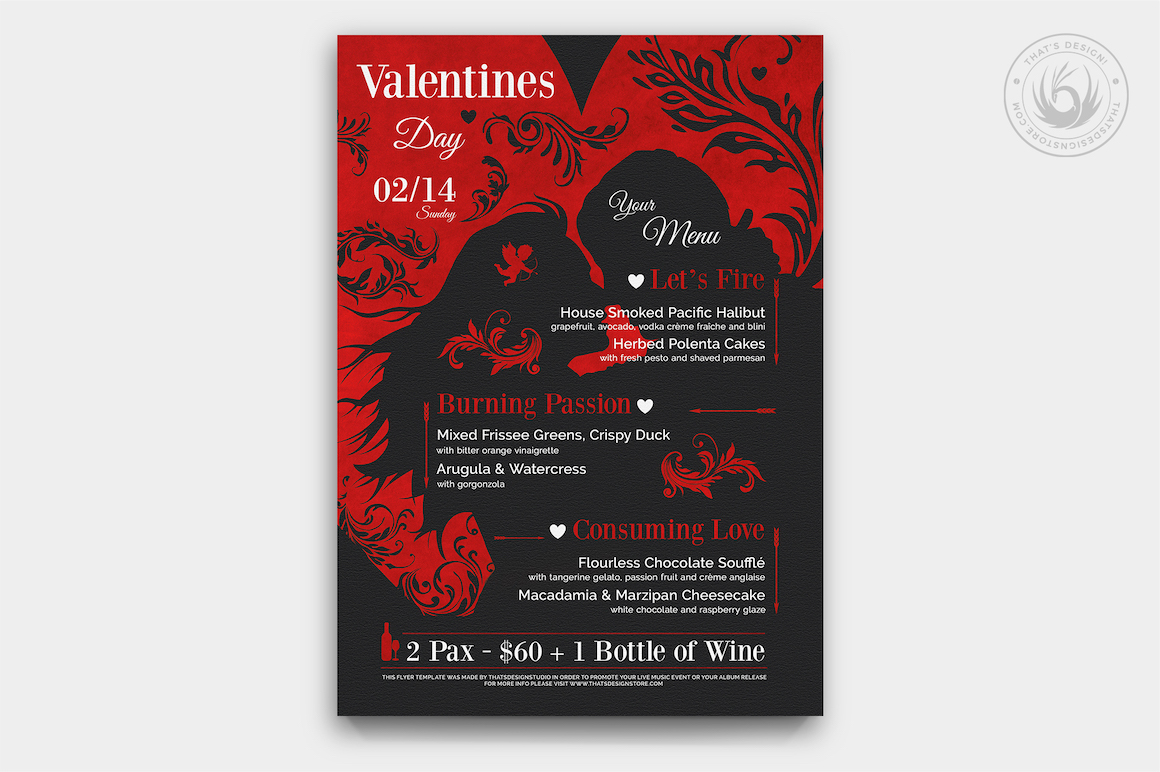 Valentine's Day Menu Template V6 love Psd download to customize with photoshop