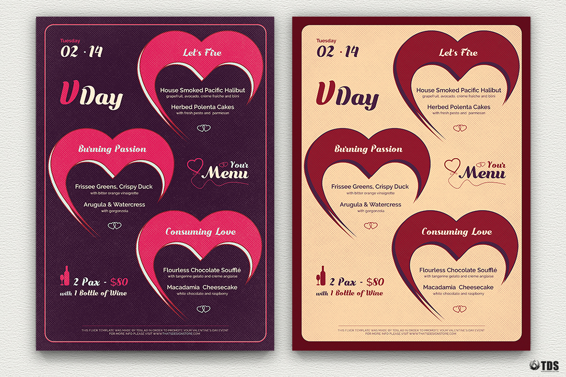 Valentine S Day Flyer Menu Template For Photoshop V 6