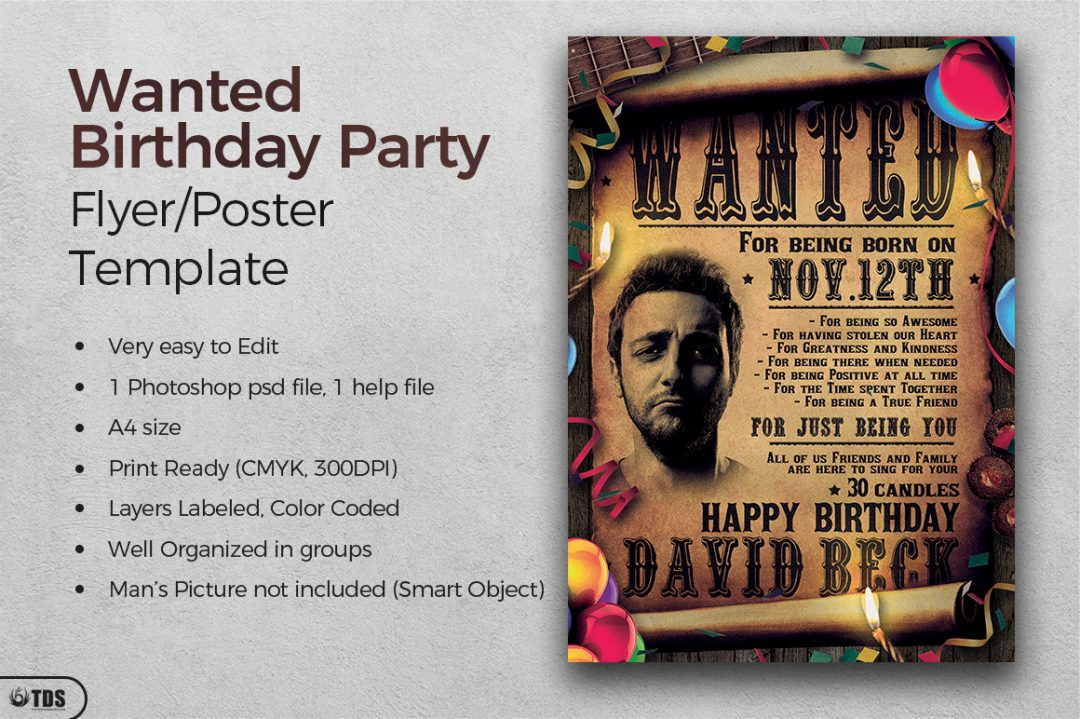 Western and Wanted Birthday Party Flyer Template