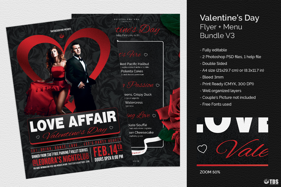 Valentines day Menu Template V3 love Psd download to customize with photoshop