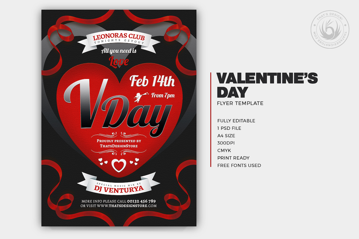 Valentineu0027s Day Flyer Template V8 Love Psd Download To Customize With  Photoshop
