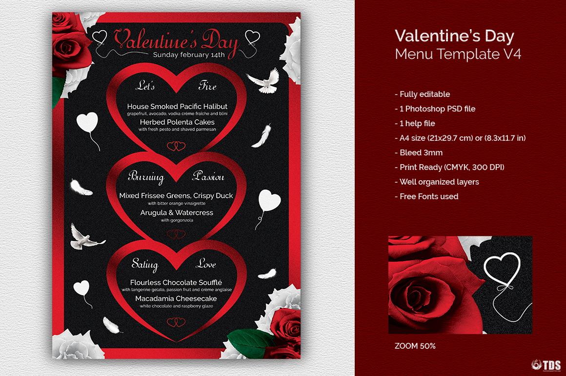 valentine s day menu template v4 thats design store