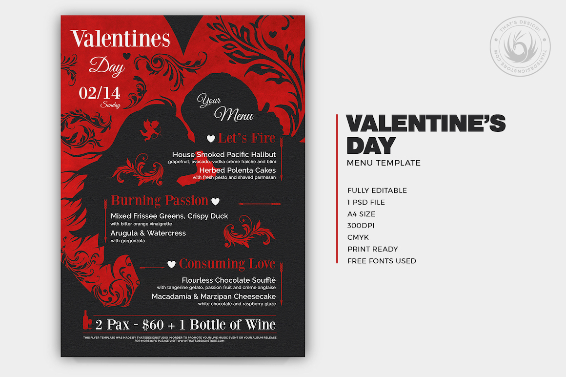 Valentine S Day Menu Template V6 Thats Design Store