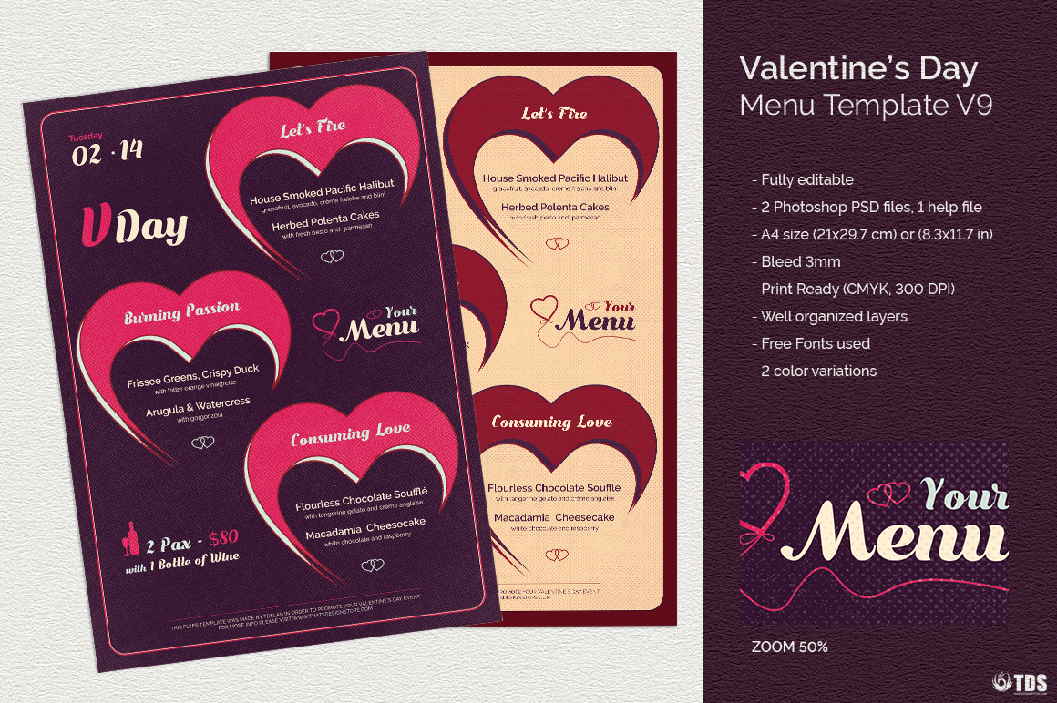 Valentines Day Menu Template V9 | Free posters design for photoshop