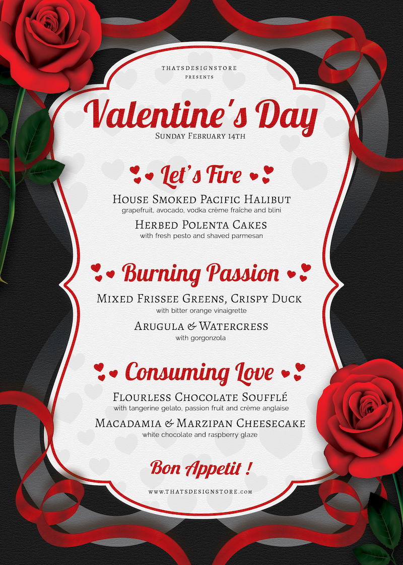 Valentine S Day Menu Template Psd Design For Photoshop
