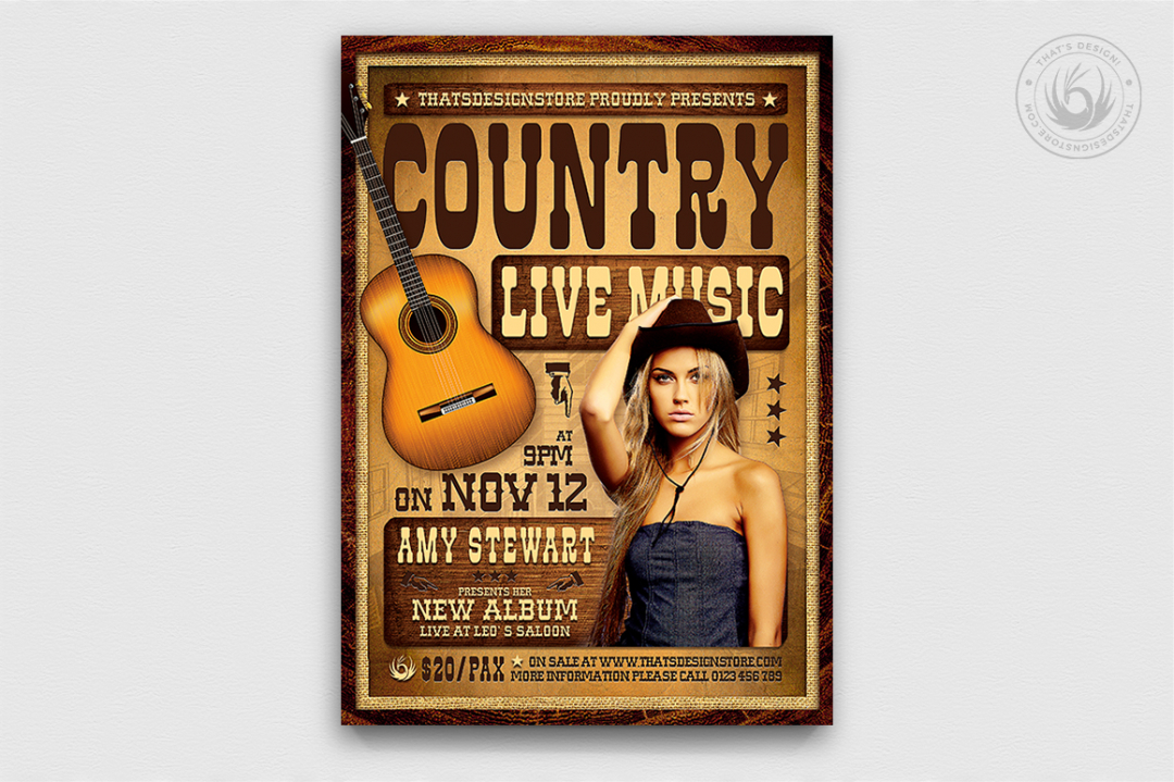 Country Live Template PSD download V4, Wanted Concert flyers farwest Western music, rodeo bike cowboy in a coyote bar