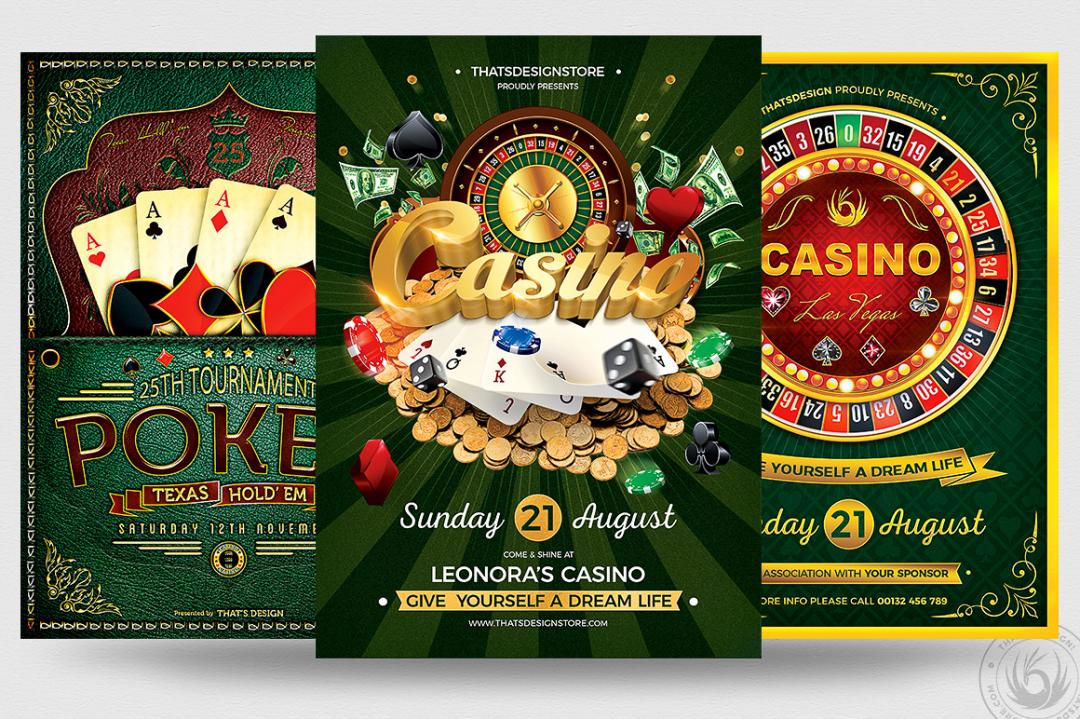 3 PSD - Vegas Poker Casino Flyers