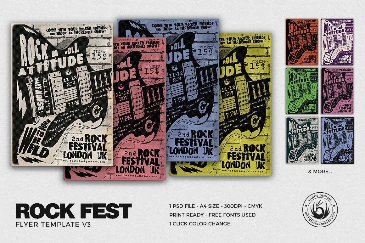Rock Festival Flyer Template PSD download V3